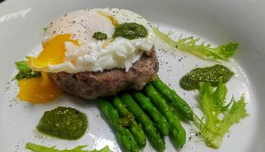 Ragi Mudde Poached Egg with Pesto