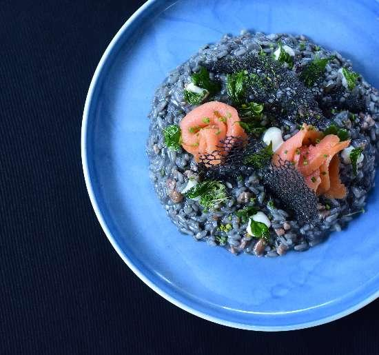 Charcoal Salmon Risotto